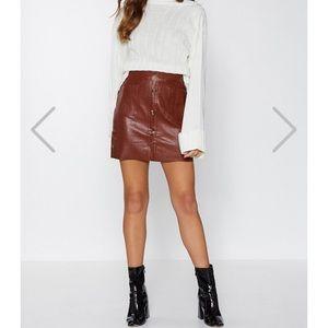 NWT Nasty Gal Mini By Mini Faux Leather Skirt
